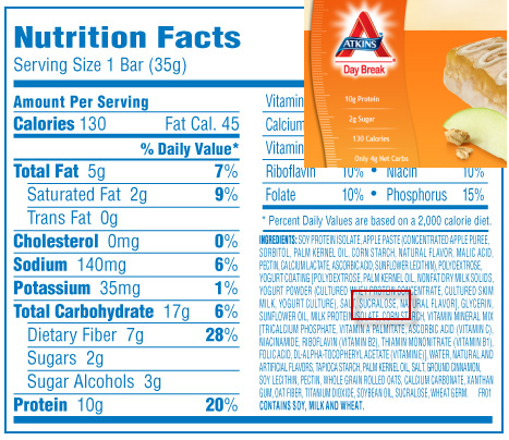 food labels with ingredients. food label was obtained.